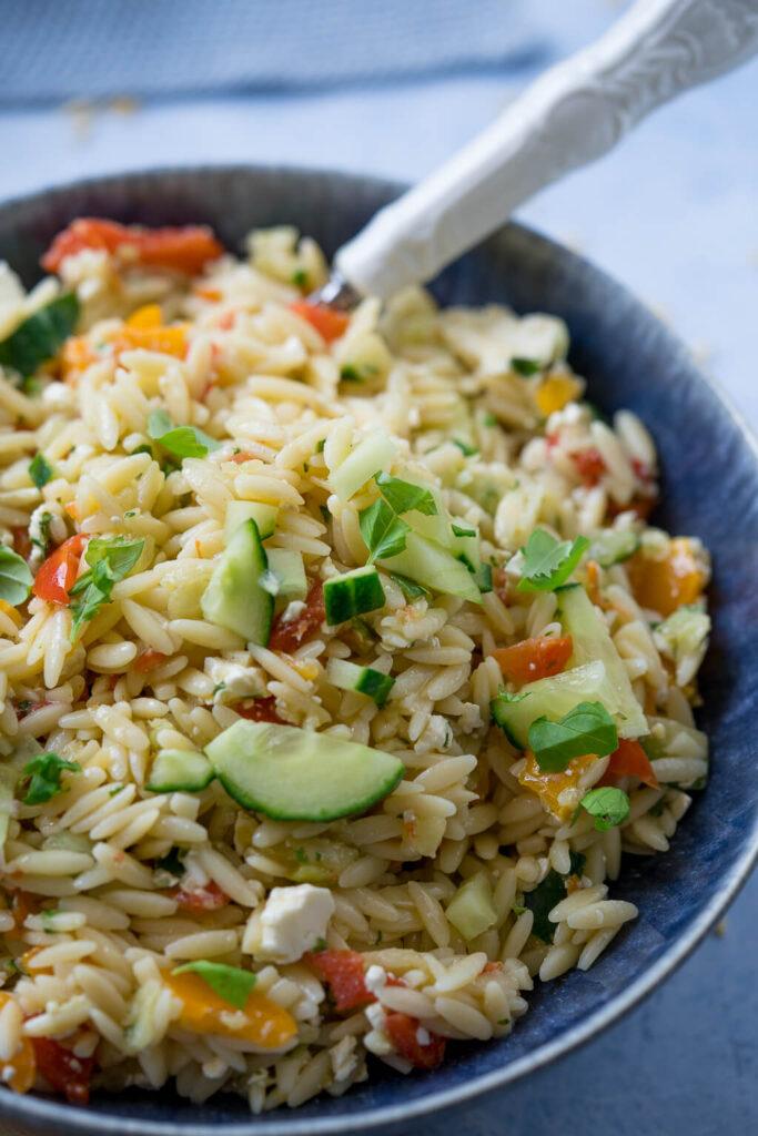 Kritharaki Salat vegetarisch - auch mit Rezept für den Thermomix