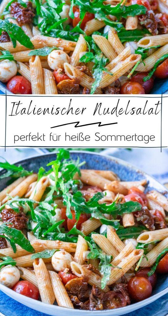 So einfach machst du den besten italienischen Nudelsalat. Der italienische Nudelsalat ist super lecker & fix zubereitet - ein Muss sind die getrockneten Tomaten und der frische Rucola! #RUCOLA #pasta #sommerrezepte #italienischerezepte #nudelsalat