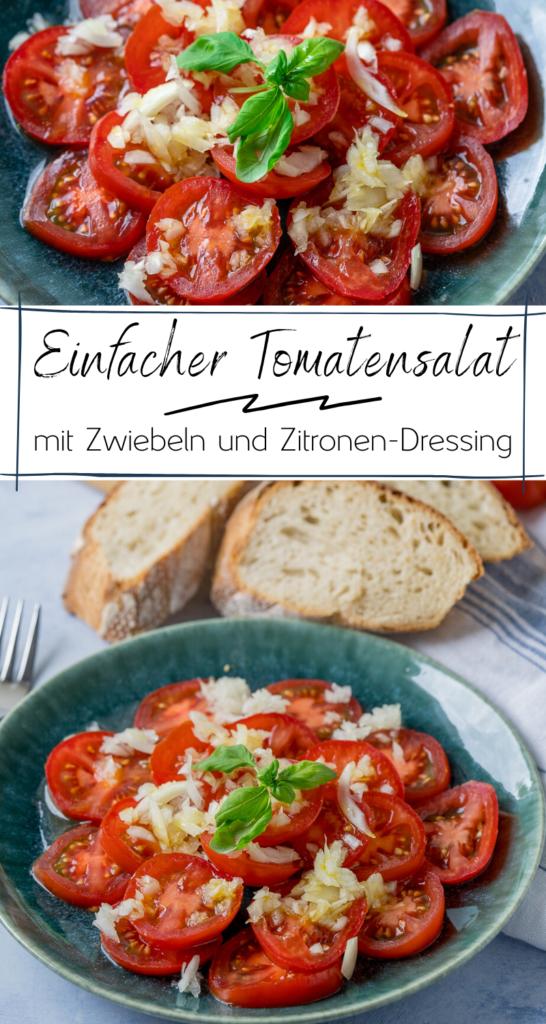 Dieser einfache Tomatensalat ist das absolute Highlight auf dem Grillbuffet. Der Salat mit aromatischen Tomaten, einem leckeren Zitronen Dressing sowie frischen Zwiebeln zubereitet und schmeckt absolut himmlisch. #tomaten #grillbeilage #sommerrezepte #sommersalate