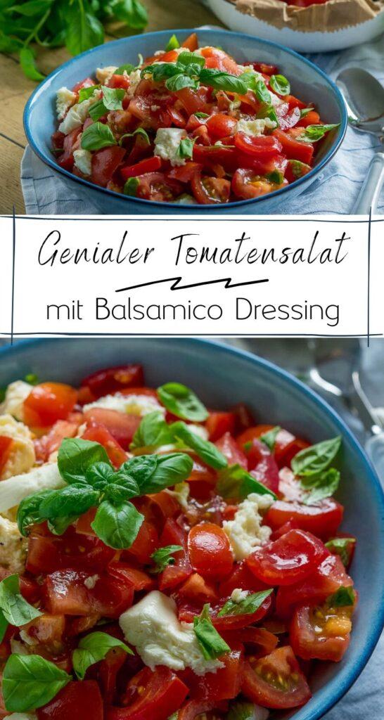 Ruck Zuck Tomatensalat - Mein bester und schnellster Tomatensalat mit Mozzarella und dem perfekten Balsamico Dressing - perfekt als (Grill)-Beilage oder als Mahlzeit an heißen Tagen. Der Tomatensalat ist super erfrischend und lässt sich auch wunderbar vegan zubereiten. #salate #tomaten #veggie #salat #sommerrezepte #einfach #dressing