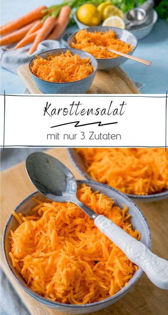 Der saftige Karottensalat ist in nur 5 Minuten zubereitet. Und das Beste? Du brauchst nur 3 Zutaten für den Rohkostsalat: Karotten, Zitrone und etwas Zucker #salat #rohkost #gemüse #Möhren