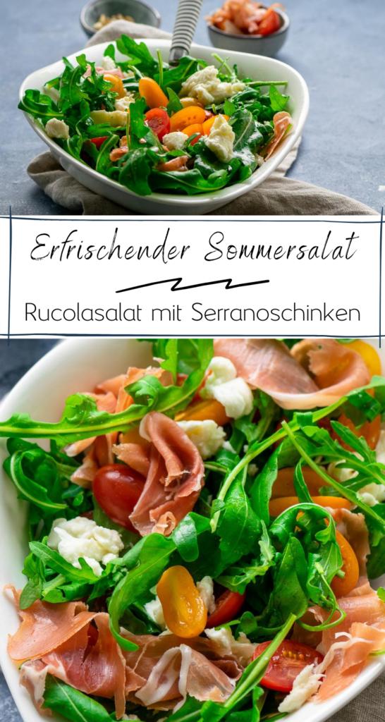 Der perfekte Salat für heiße Sommertage - Rucola mit Tomate, Mozzarella & Serrano Schinken #Sommerrezepte #salat #sommersalat #rucolasalat #balsamico