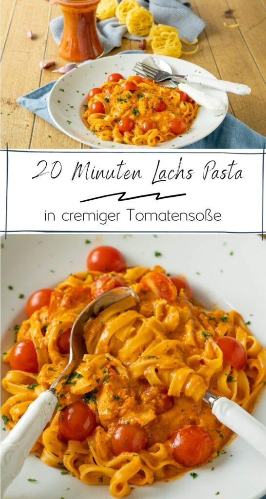 Lachs Pasta mit Tomaten-Sahne Soße - Die Lachs Pasta mit cremiger Tomatensauce ist nicht nur schnell gekocht, sie ist auch unglaublich lecker und sättigend. Alles was du dazu benötigst, sind 5 Zutaten. Wenn du also auf unkomplizierte Gerichte stehst, dann ist diese Lachs Pasta genau das richtige Rezept für dich. #pasta #einfacherezepte #vegetrisch #nudeln