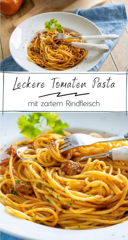 Es gibt eine Pasta mit Tomatensugo und Rindfleisch. Und weisst du was das geniale an dieser Pasta ist? Sie ist kinderleicht zubereitet und schmeckt absolut fantastisch.  #nudeln #italienisch #pasta #slowcooker