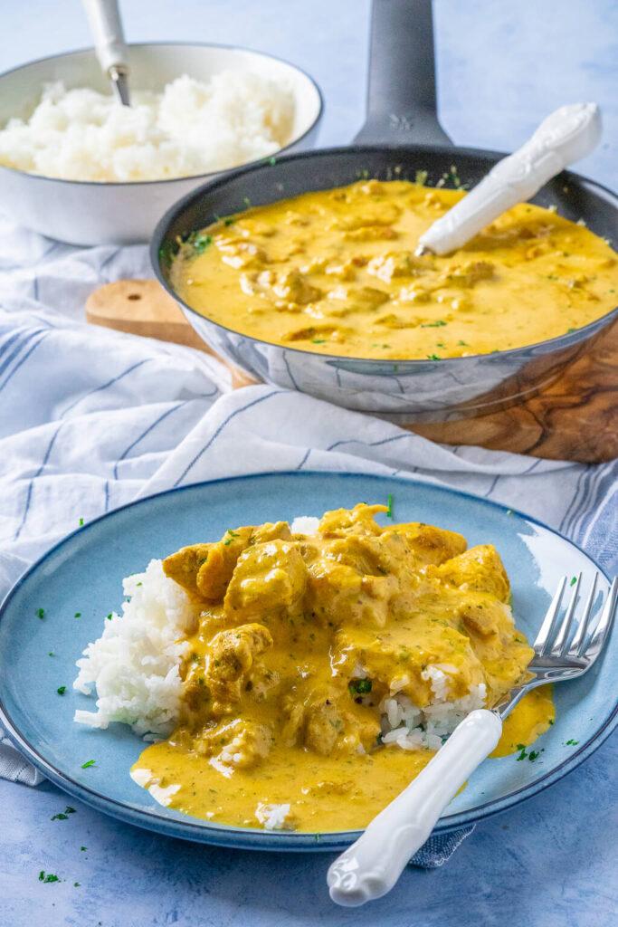 Geschnetzeltes mit Reis - cremige Currysauce