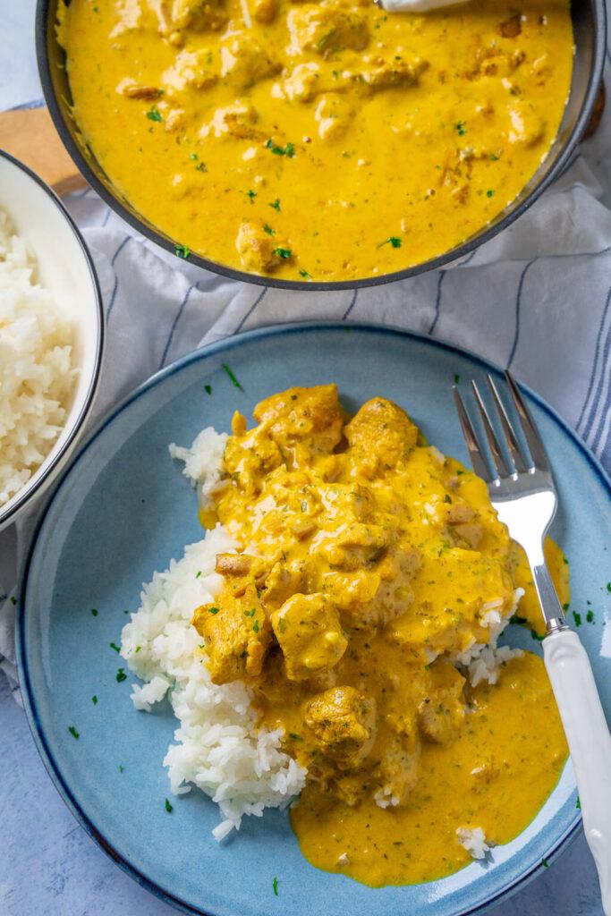 Curry Geschnetzeltes mit Reis