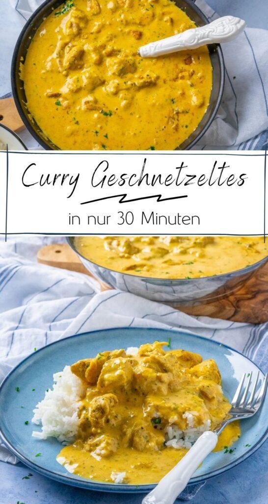 Hähnchengeschnetzeltes in cremiger Curry-Sahne Sauce - eines unser liebsten Gerichte denn der Geschmack ist der Knaller und das schnelle Mittagessen in nur 30 Minuten auf dem Tisch. Dazu passen Reis, Nudeln oder Kartoffeln - ganz wie du es am liebsten magst. #einfacherezepte #feierabendküche #curry