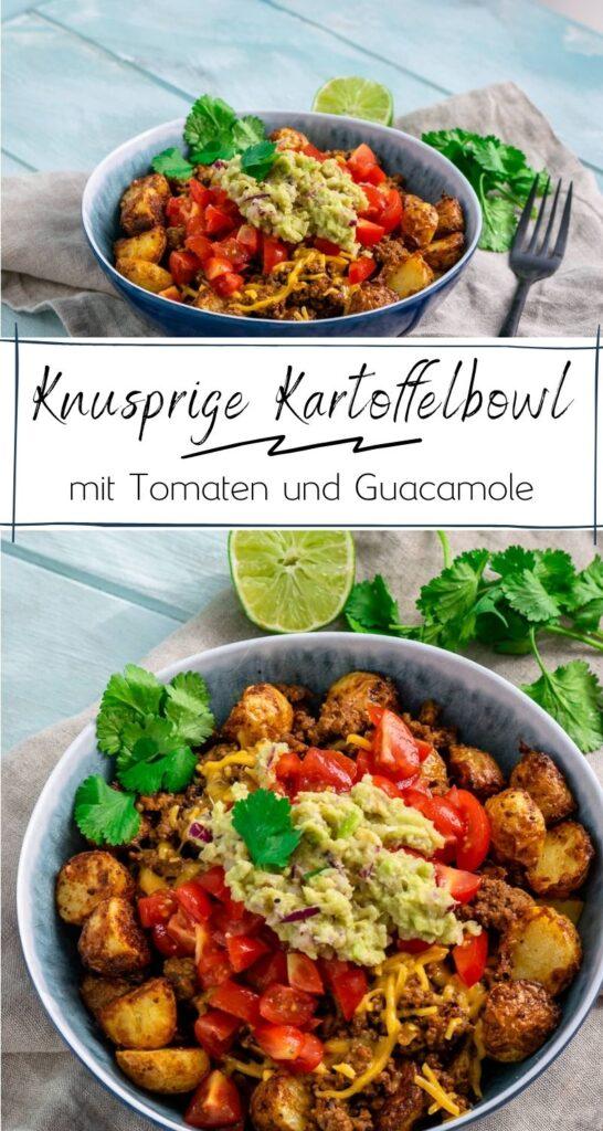 Super lecker und einfach - die Bowl ist perfekt für den Feierabend. Hackfleisch, knusprige Kartoffelecken, Guacamole & Tomaten mit Cheddar überbacken. #feierabendküche #einfacherezepte #bowls #herzhaft #pommes #ofengerichte #avocado #guacamole