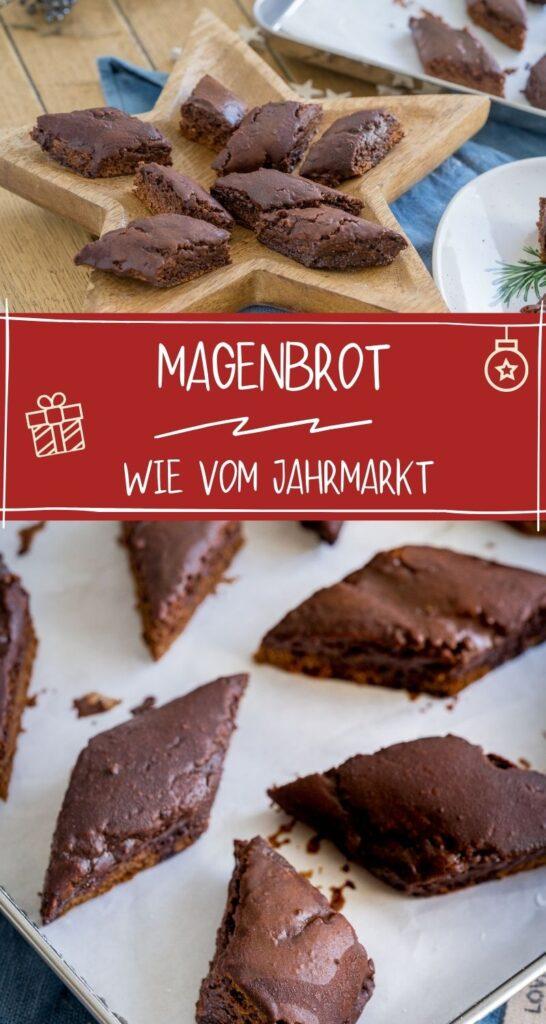 Magenbrot kennt man vom Jahrmarkt, Hamburger Dom oder Volksfesten. Es ist so lecker und schmeckt nach frischen Lebkuchen. Perfekt für die Vorweihnachtszeit #weihnachten #traditionellerezepte #lebkuchen #lebkuchengewürz #backen #kekse #zimt