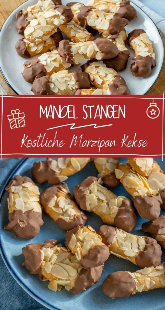 Wer Mandelhörnchen so sehr liebt wie ich, wird diese Mandel Stangen im Miniformat ganz sicher lieben. Das Rezept ist super einfach und die Mandelstangen einfach extrem lecker! #weihnachten #marzipan #weihnachtskekse