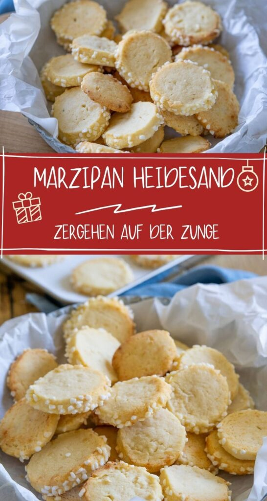 Heidesand Plätzchen mit Marzipan sind ein echter Klassiker und (nicht nur) zu Weihnachten sehr beliebt. Einfach zu backen und schmecken der ganzen Familie. #weihnachten #plätzchen #marzipankekse #heidesand