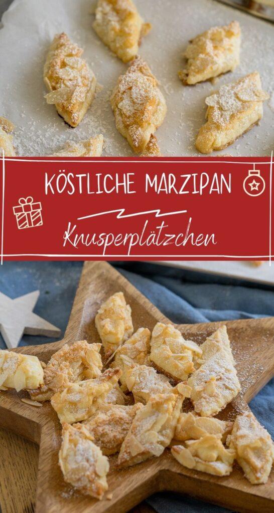 Zartes Buttergebäck mit Marzipan, Mandeln & Puderzucker - Die Kekse schmecken super lecker und sind die richtigen Weihnachtskekese für alle Marzipan-Fans. #marzipan #marzipankekse #weihnachten