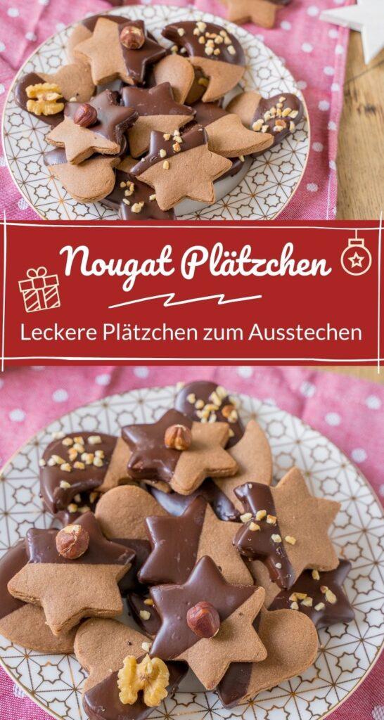 Nougatplätzchen - Diese Nougatplätzchen schmecken absolut genial. Verziere die Plätzchen ganz nach deinem Geschmack mit Schokoladen, Nüssen, Mandeln oder (bunten) Streuseln. #weihnachten #kekse #nougat