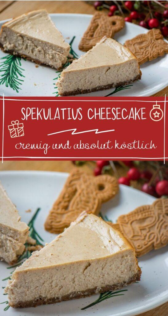 Cremiger Käsekuchen mit Frischkäsefüllung und leckerem Spekulatius Boden. Rezept ist eine Abwandlung des New York Cheesecake und einfach mega lecker. #käsekuchen #cheesecake #weihnachten