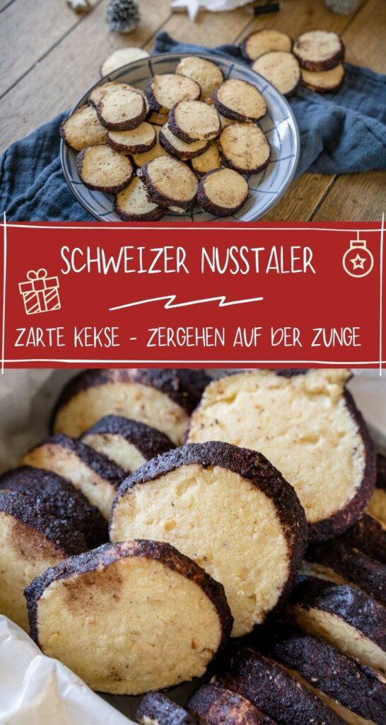 Zartes Buttergebäck das auf der Zunge zergeht, ist in diesem Jahr besonders angesagt. Und so passen diese Schweizer Nusstaler perfekt in die Reihe der besten Weihnachtsrezepte aller Zeiten. Die Nusstaler sind herrlich mürbe und zerfallen fast schon beim Abbeißen. #weihnachten #kekse #backen #weihnachtsrezepte