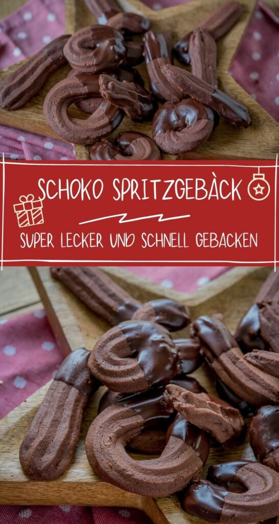 Das Schoko Spritzgebäck ist mega lecker! Die hübschen Weihnachtskekse sind nicht nur super lecker, sie sind auch ein tolles Geschenk in der Adventszeit. #weihnachten #kekse #schokolade