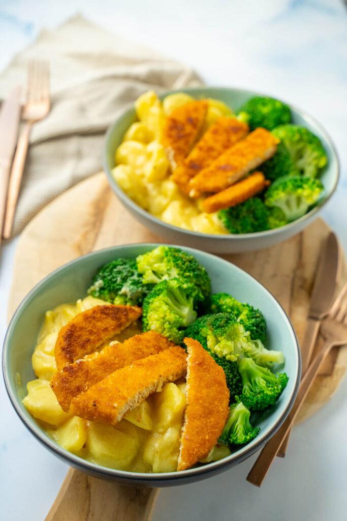 Kartoffeln in Senfsauce mit Brokkoli
