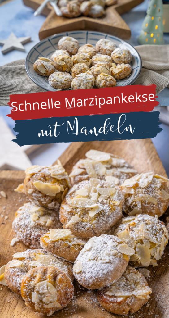 Köstliiche Weihnachtskekse - leckere Marzipan Plätzchen mitgerösteten Mandeln und Zimt. Super lecker und schnell zubereitet mit Amaretto (sirup) #weihnachten