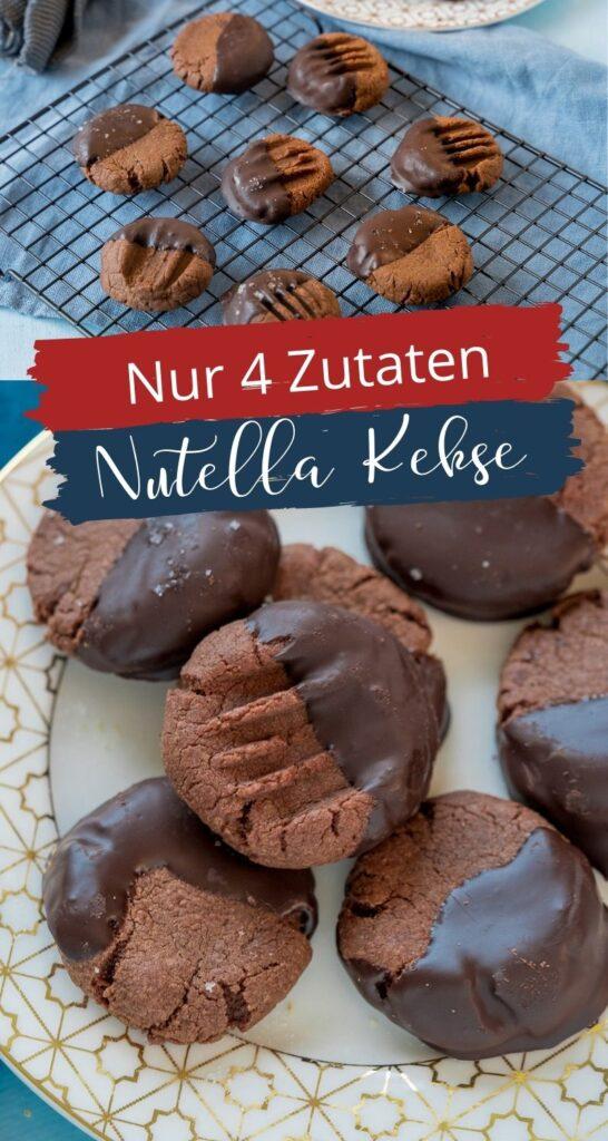 Die Schokokekse mit nur 4 Zutaten sind der Knaller. Tipp - tauche sie in Schokolade & streue Meersalz darüber! Die Nutella Kekse haben großes Suchtpotential. #nutella #schokokekse #weihnachten