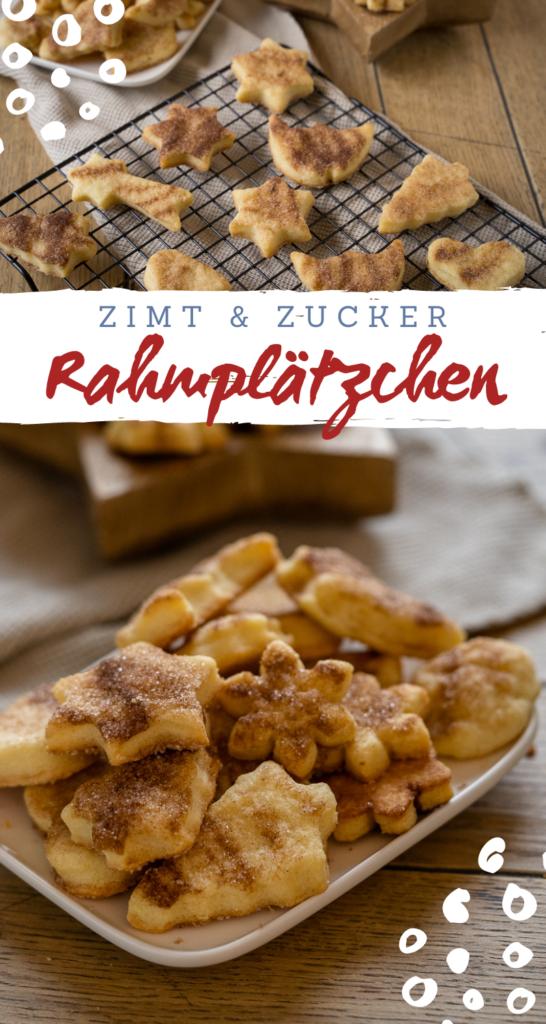 Köstliche Rahmplätzchen mit Zimt und Zucker - besonders lecker frisch aus dem Ofen. Kinderleichtes Rezept - die Kekse durften bereits beim Backen wundervoll #weihnachten