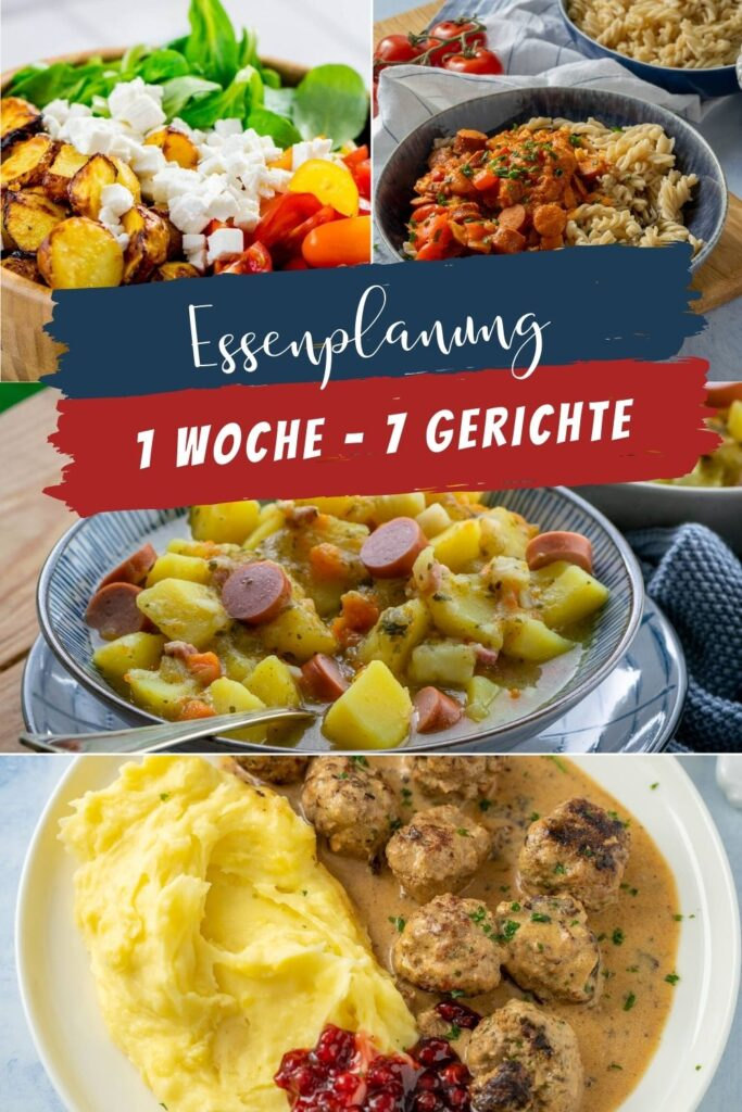 Suchst du nach unkomplizierten Ideen für deine Essenplanung? Hier habe ich 7 köstliche und einfache Gerichte für deinen Wochenplan und deine Einkaufsliste. #wochenplan