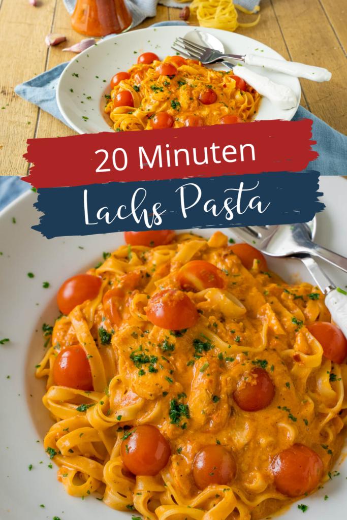 Lachs Pasta mit Tomaten-Sahne Soße - Die Lachs Pasta mit cremiger Tomatensauce ist nicht nur in 20 Minuten auf dem Tisch, sie ist auch unglaublich lecker und sättigend. Alles was du dazu benötigst, sind 5 Zutaten. Wenn du also auf unkomplizierte Gerichte stehst, dann ist diese Lachs Pasta genau das richtige Rezept für dich. #pasta #einfacherezepte #vegetrisch #nudeln