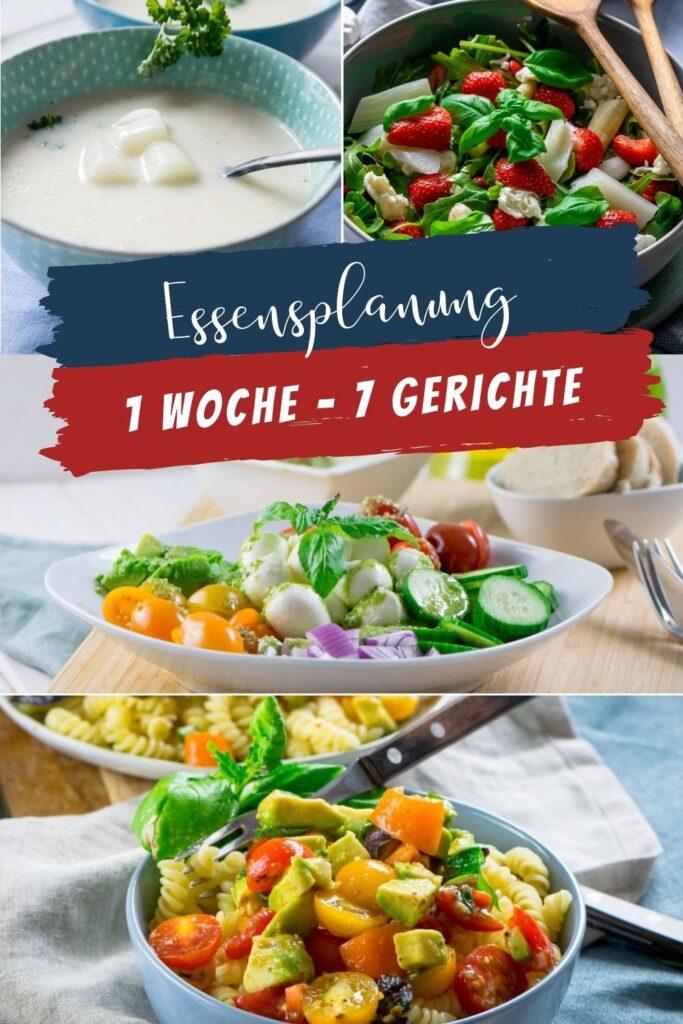 Dieser Wochenplan unterstützt dich als Inspiration für deine Kochplanung. In dieser Woche wird es frühlingshaft leicht mit Salaten, Suppe und Pasta