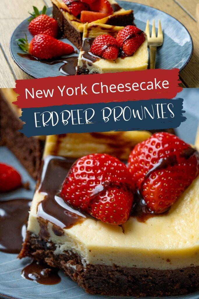 OMG, diese New York Cheesecake Brownies mit Erdbeeren sind so lecker. Saftig und super einfach zu backen. Dazu passt eine leckere Schokosauce