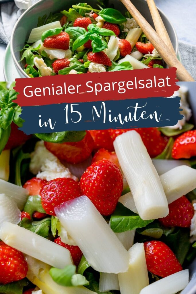 Spargel und Erdbeeren - was für eine traumhafte Kombination. Der Spargelsalat mit Honig-Senf Dressing ist ein echter Genuss und fertig in nur 15 Minuten! #spargel #schnellerezepte #erdbeeren