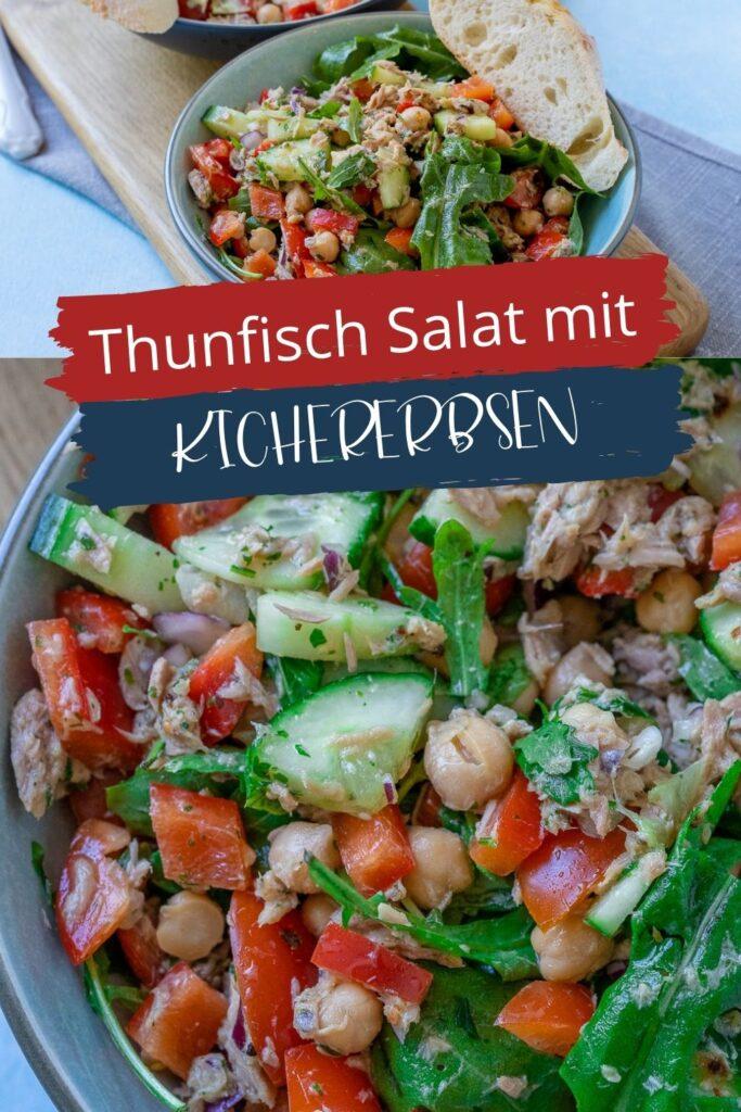 Super lecker und Ruck Zuck zubereitet. Der leckere Salat mit Thunfisch, Kichererbsen und Honig-Senf Dressing ist mega genial und gesund.