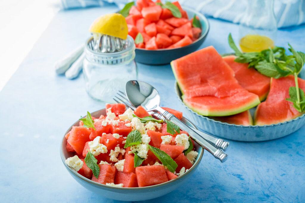 Melonensalat mit Feta und Minze
