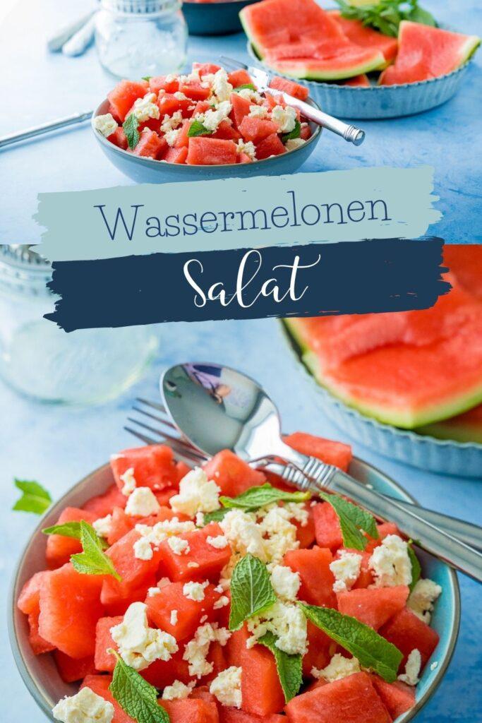 Erfrischender Salat für heisse Sommertage mit Wassermelone, Feta und leckerem Dressing mit Balsamico, Zitrone und frischer Minze