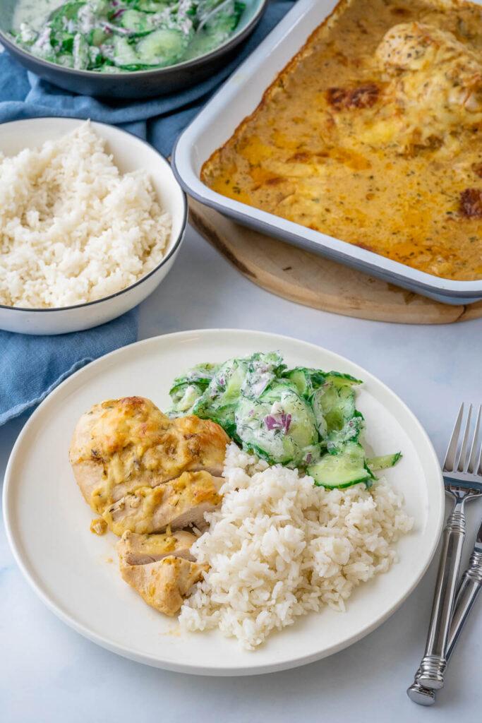 Gerichte mit Reis und Hähnchen - Zwiebel Sahne Hähnchen ohne fix