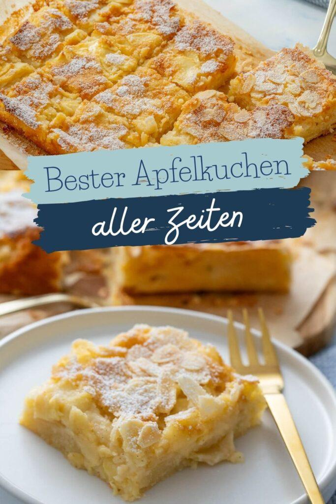 Alle lieben dieses Apfelkuchen Rezept. Einfacher Apfelkuchen vom Blech - saftig und mega lecker - Dieser saftige Apfelkuchen ist absolut perfekt, denn er ist in nur wenigen Minuten zu zubereitet und du brauchst nur wenige Zutaten - statt mit Zimt wird der Blechkuchen mit Vanille zubereitet und er schmeckt unbeschreiblich gut. Er erinnert an Butterkuchen und macht mit Mandeln und Puderzucker getoppt absolut glücklich. #herbst #apfel #saisonal #kuchen #mandeln #apfelkuchen #blechkuchen