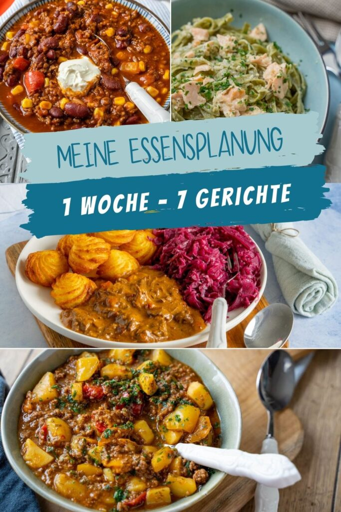 Ideen für die Essenplanung - 1 Woche, 7 Gerichte. Diese Woche wird es deftig mit Gulasch, Suppe & Eintöpfen wie Bauerntopf und Chili con Carne.