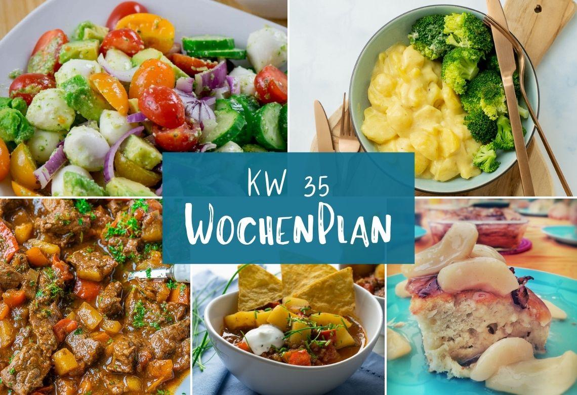 Wochenplan KW 35 - 7 leckere Gerichte für deine Wochenplanung