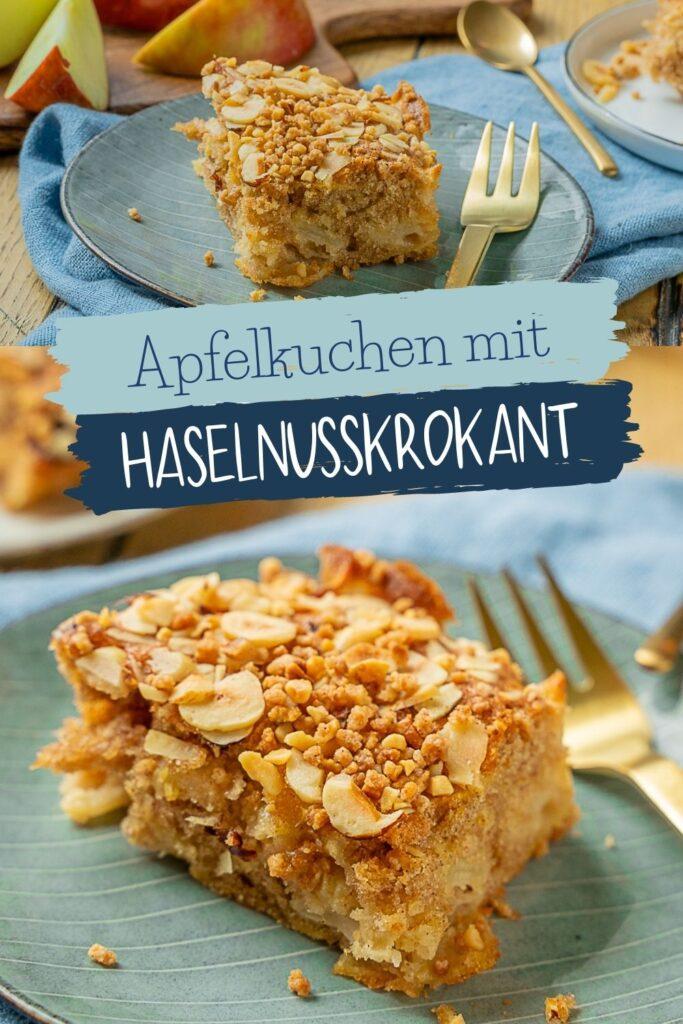 Die perfekte Kombination: Weicher Rührteig, sauer Apfelstücke und süßer knuspriger Haselnusskrokant. Der perfekte Apfelkuchen vom Blech.