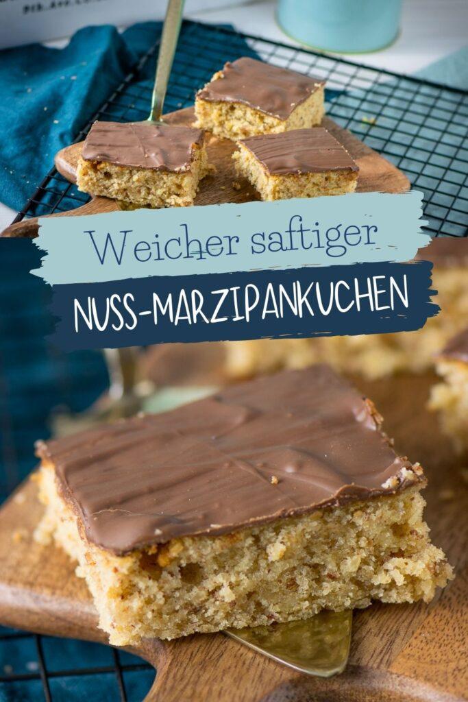 Fluffiger Marzipankuchen mit Nüssen und Mandeln - einfaches Rezept für einen leckeren Marzipankuchen vom Blech. Der schmeckt einfach so himmlisch gut!